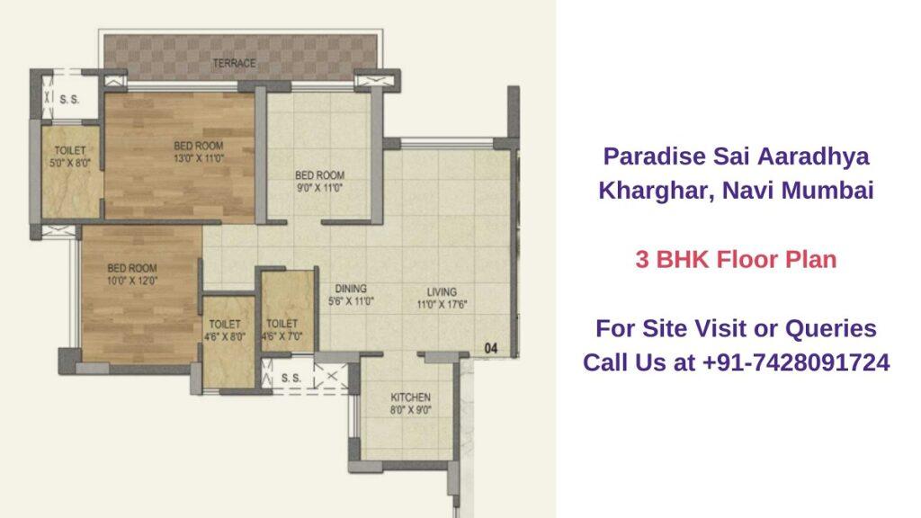 Paradise Sai Aaradhya Kharghar, Navi Mumbai 3 BHK Floor Plan
