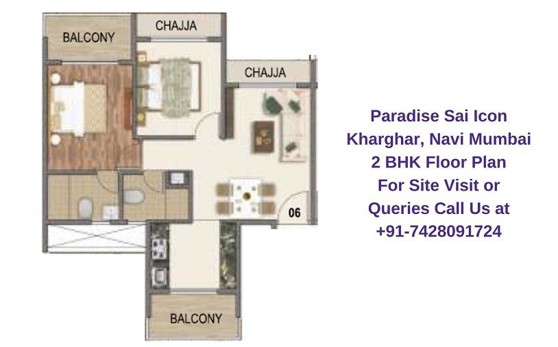 Paradise Sai Icon Kharghar, Navi Mumbai 2 BHK Floor Plan