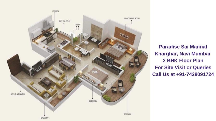 Paradise Sai Mannat Kharghar, Navi Mumbai 2 BHK Floor Plan