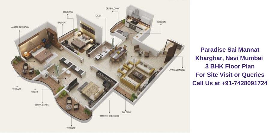 Paradise Sai Mannat Kharghar, Navi Mumbai 3 BHK Floor Plan