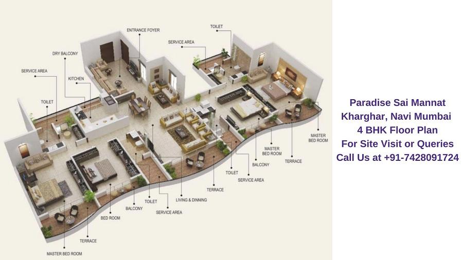 Paradise Sai Mannat Kharghar, Navi Mumbai 4 BHK Floor Plan