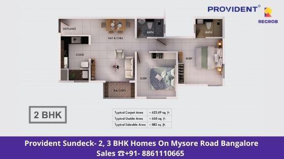 Provident Sundeck 2 BHK Floor Plan