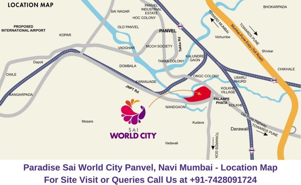 Paradise Sai World City Panvel, Navi Mumbai Location Map