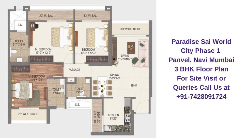 Paradise Sai World City Phase 1 Panvel, Navi Mumbai 3 BHK Floor Plan