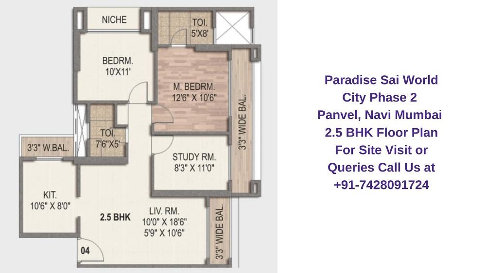 Paradise Sai World City Phase 2 Panvel, Navi Mumbai 2.5 BHK Floor Plan