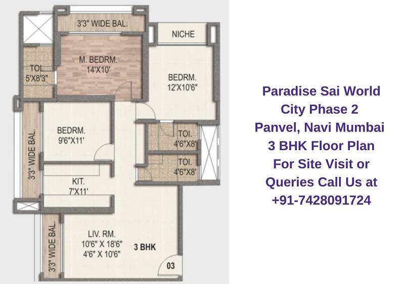 Paradise Sai World City Phase 2 Panvel, Navi Mumbai 3 BHK Floor Plan