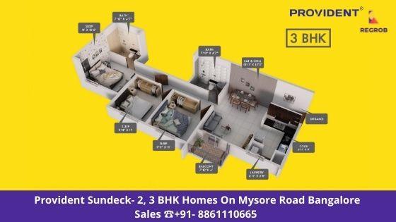 Provident Sundeck 3 BHK Floor Plan