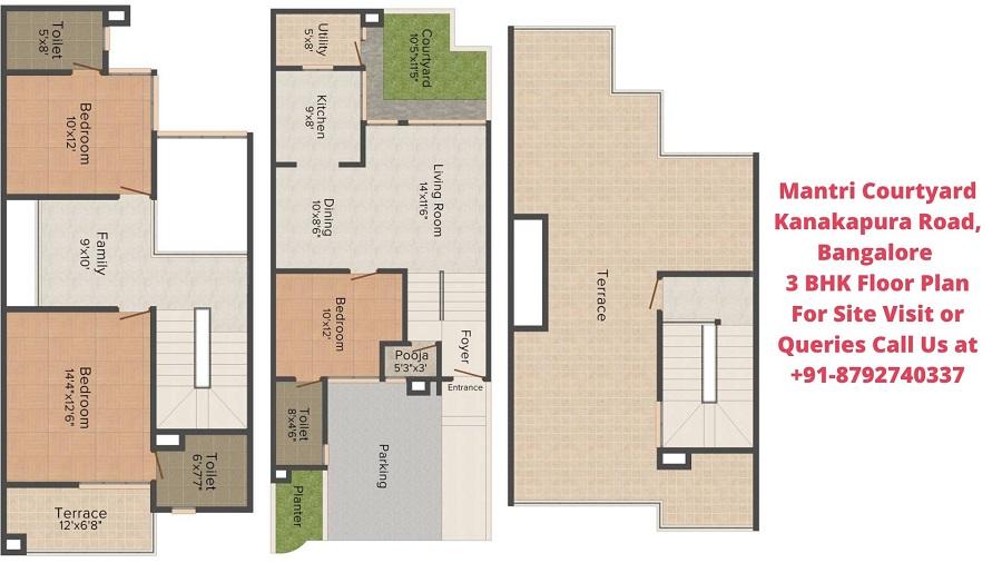 Mantri Courtyard Kanakapura Road, Bangalore 3 BHK Villa Floor Plan