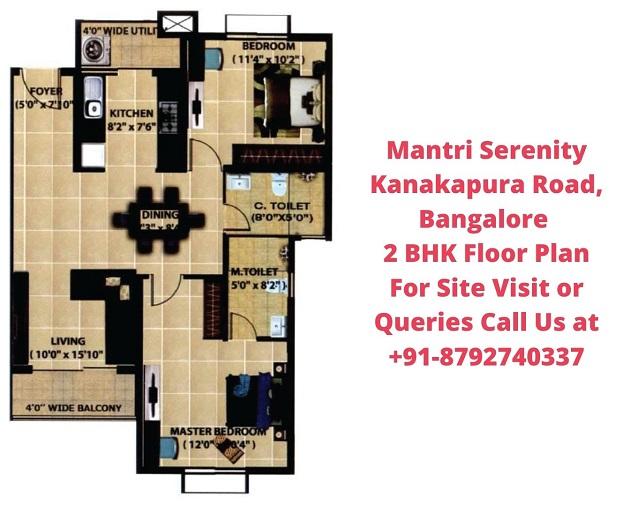 Mantri Serenity Kanakapura Road, Bangalore 2 BHK Floor plan
