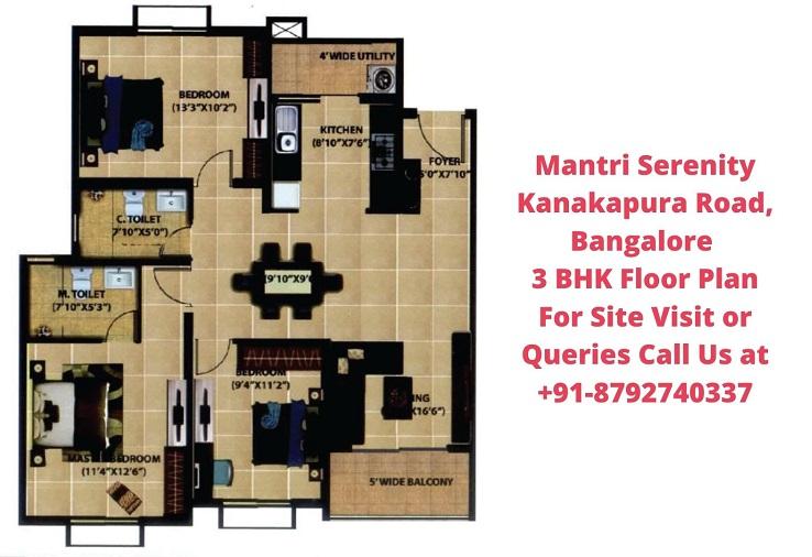 Mantri Serenity Kanakapura Road, Bangalore 3 BHK Floor Plan (1)