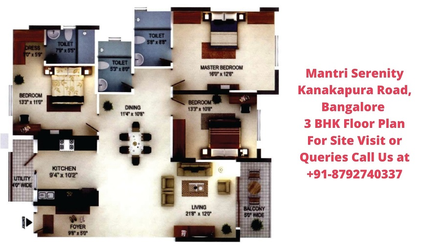 Mantri Serenity Kanakapura Road, Bangalore 3 BHK Floor Plan (2)