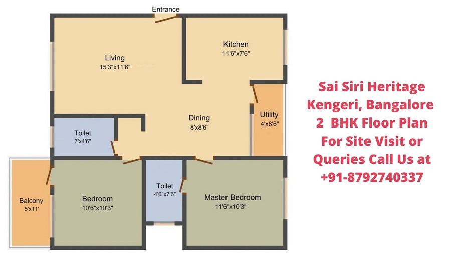 Sai Siri Heritage Kengeri, Bangalore 2 BHK Floor Plan
