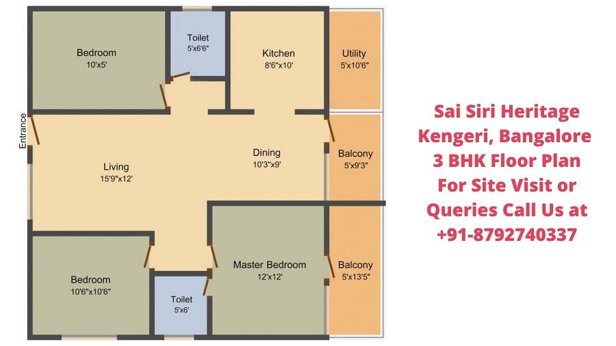 Sai Siri Heritage Kengeri, Bangalore 3 BHK Floor Plan