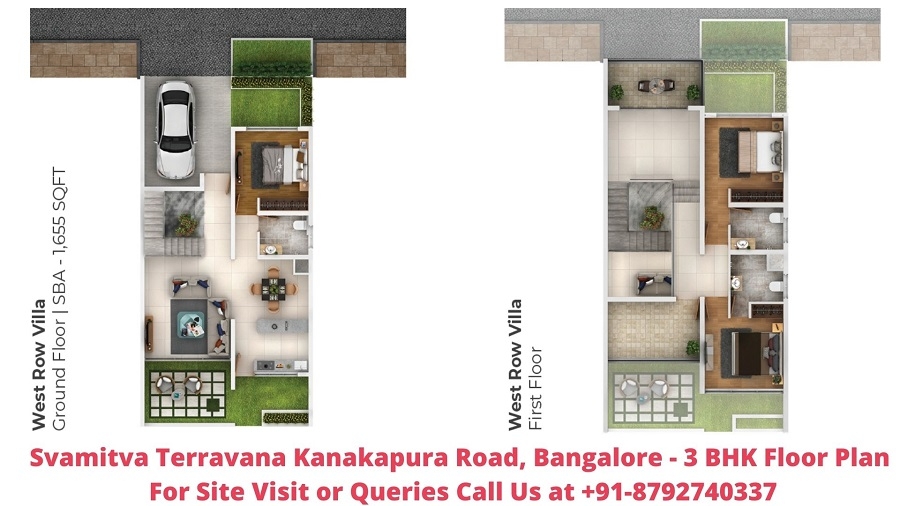 Svamitva Terravana Villa Kanakapura Road, Bangalore 3 BHK Floor Plan 1655 Sqft