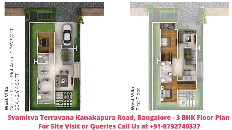 Svamitva Terravana Villa Kanakapura Road, Bangalore 3 BHK Villa Floor Plan 2414 Sqft