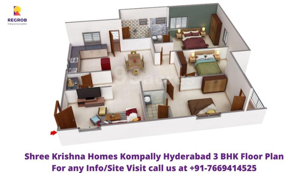 Shree Krishna Homes Kompally Hyderabad 3 BHK Floor Plan