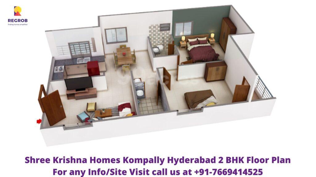 Shree Krishna Homes Kompally Hyderabad 2 BHK Floor Plan