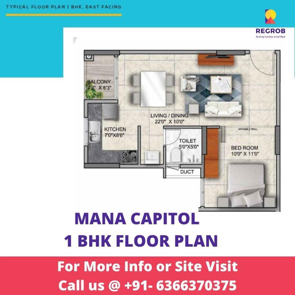 1 BHK floor Plan of Mana Capitol