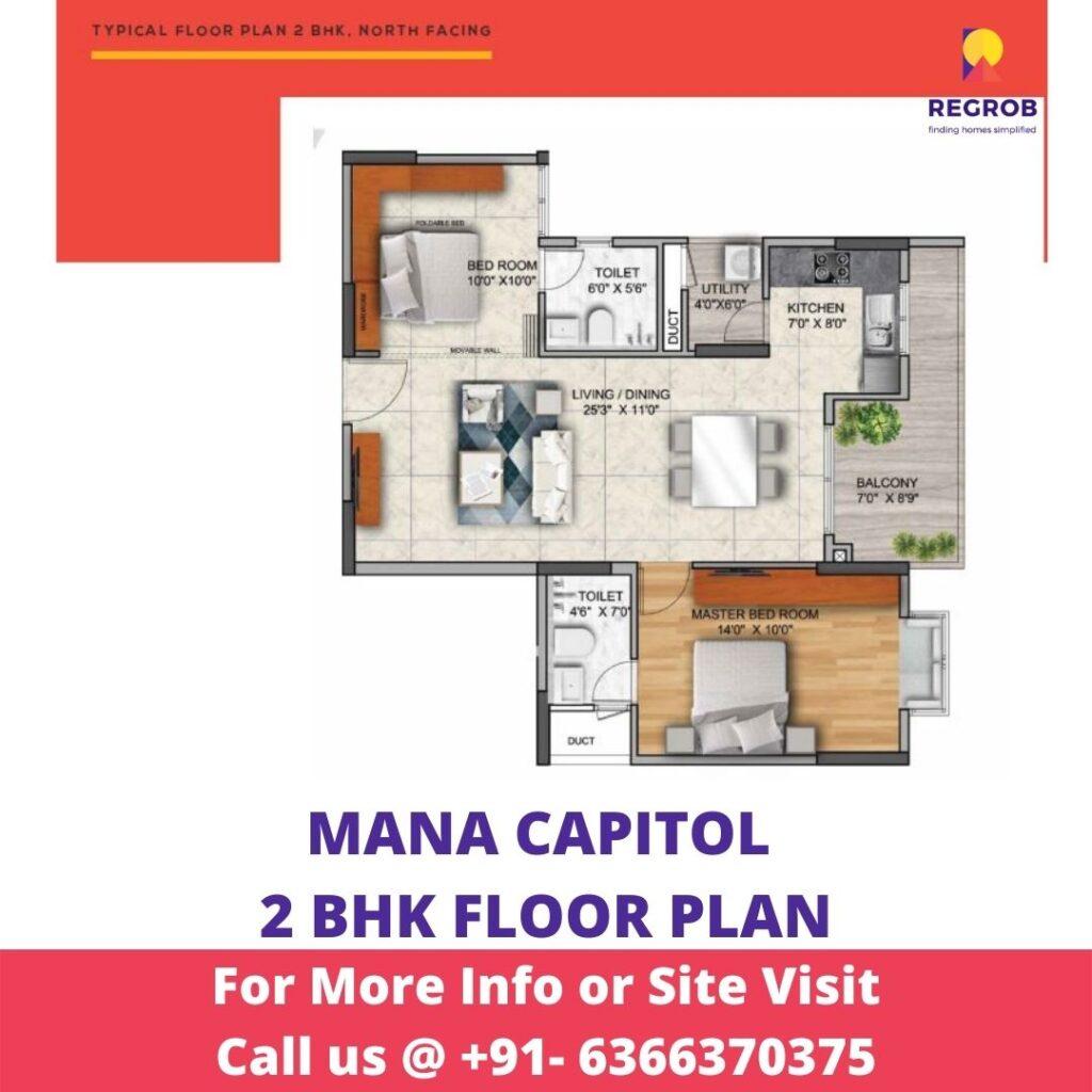 2 BHK floor Plan of Mana Capitol