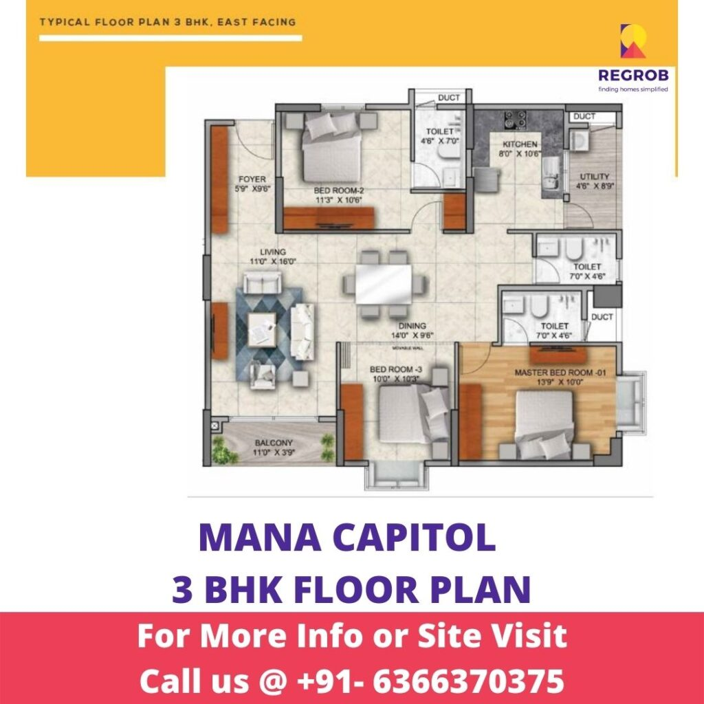 3 BHK floor Plan of Mana Capitol