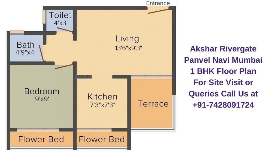 Akshar Rivergate Panvel Navi Mumbai 1 BHK Floor plan