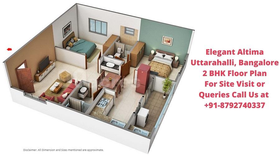 Elegant Altima Uttarahalli, Bangalore 2 BHK Floor Plan