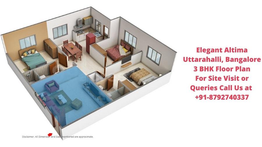 Elegant Altima Uttarahalli, Bangalore 3 BHK Floor Plan