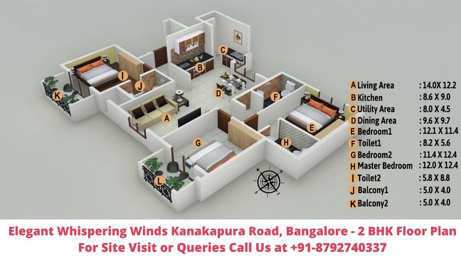 Elegant Whispering Winds Kanakapura Road, Bangalore 2 BHK Floor Plan