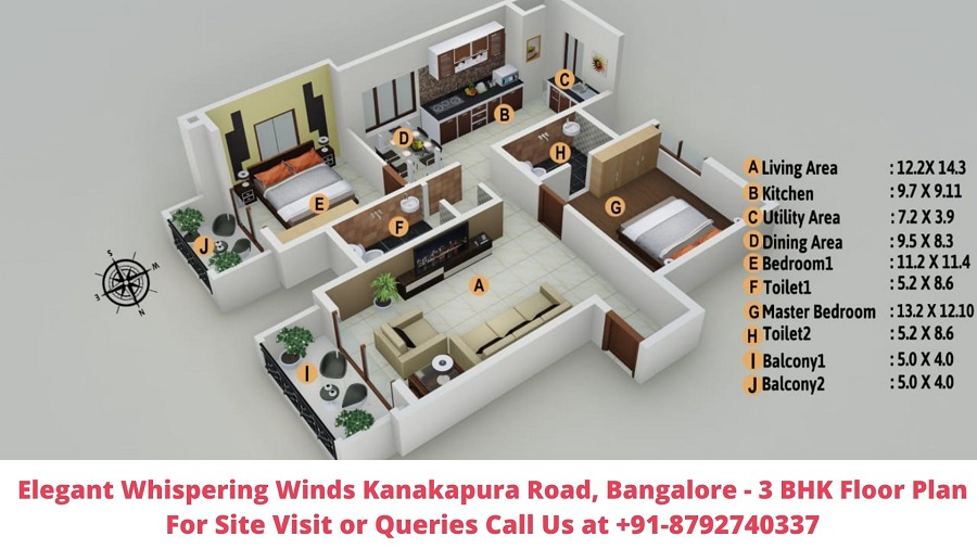 Elegant Whispering Winds Kanakapura Road, Bangalore 3 BHK Floor Plan