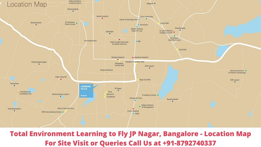 Total Environment Learning to Fly JP Nagar, Bangalore Location Map