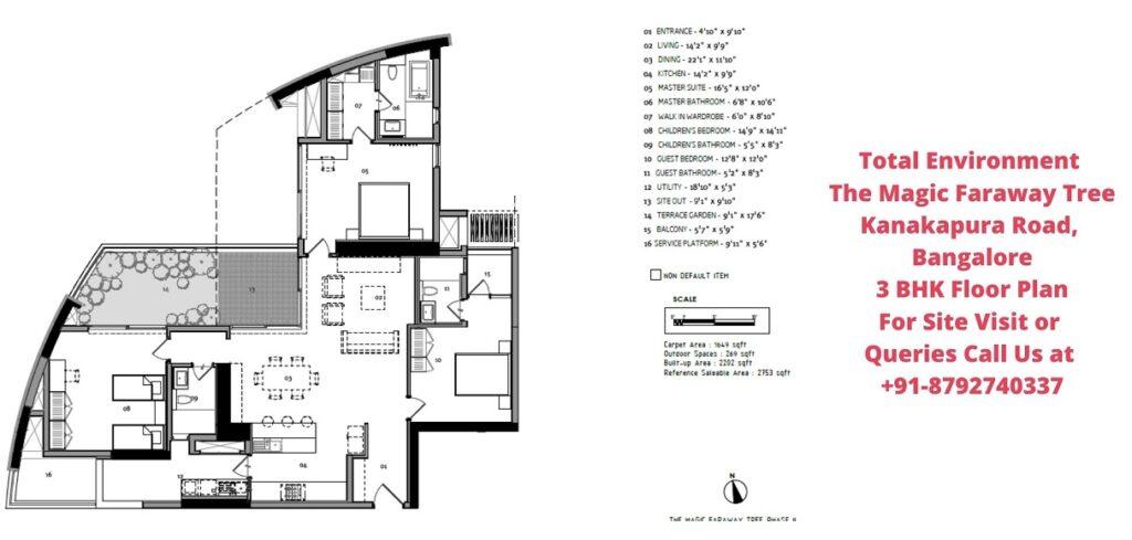 Total Environment The Magic Faraway Tree 3 BHK Floor Plan