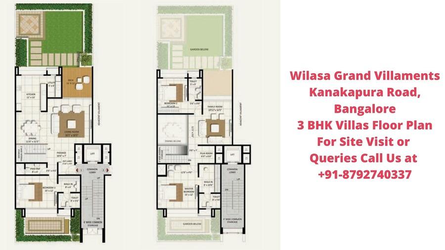 Wilasa Grand Villaments Kanakapura Road, Bangalore 3 BHK Villa Earth Floor Plan