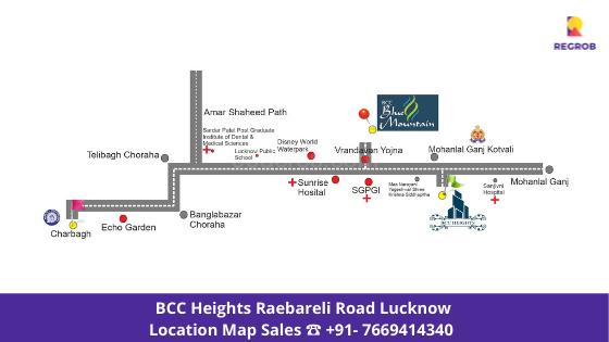 bcc heights villas raebareli road lucknow location map