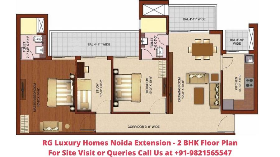 RG Luxury Homes Noida Extension 2 BHK Floor Plan