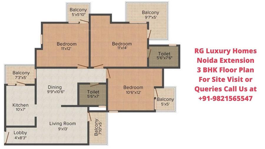 RG Luxury Homes Noida Extension 3 BHK Floor Plan